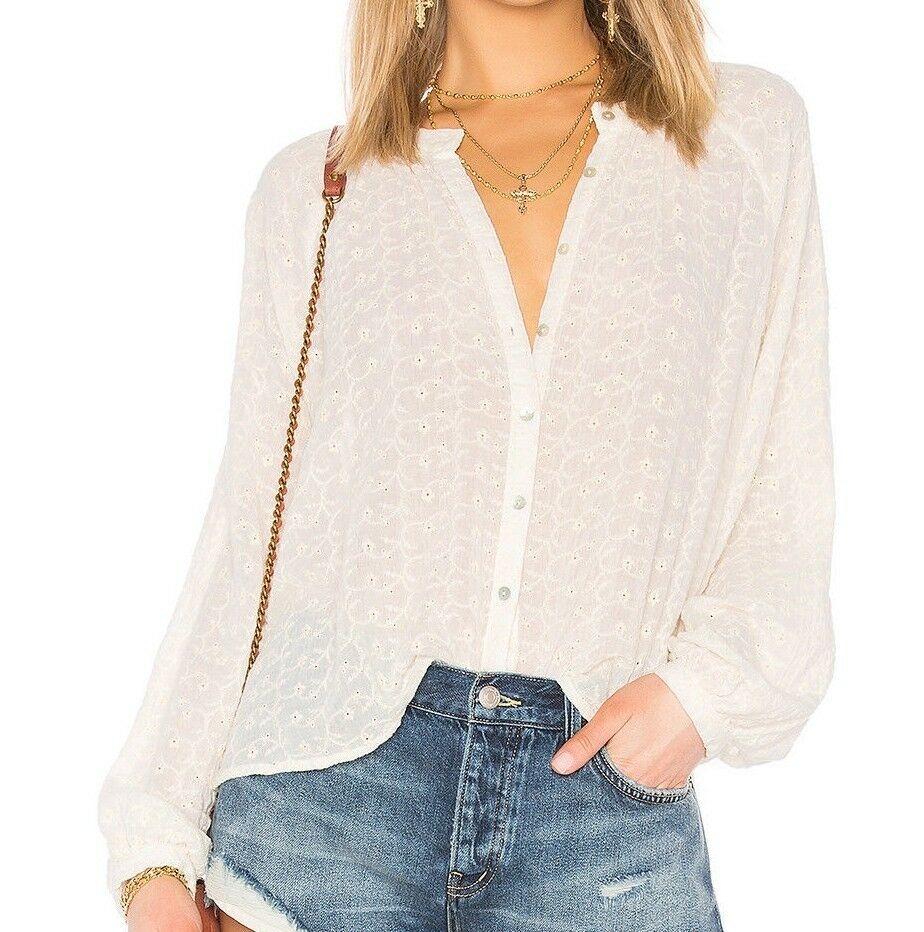 NWT FREE PEOPLE SzS DOWN FROM THE CLOUDS EMBROIDErot LONG SLEEVE BLOUSE Weiß