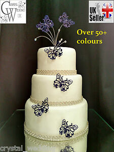 Sparkling AB Crystal bead butterfly wedding cake topper cake ...