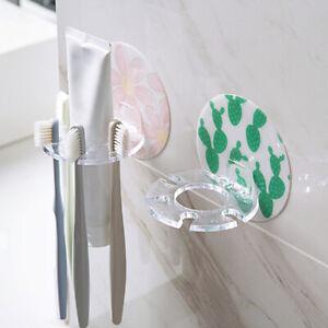 Salle-de-bain-Brosse-a-dents-porte-Ventouse-Support-Mural-Plastique-Stockage
