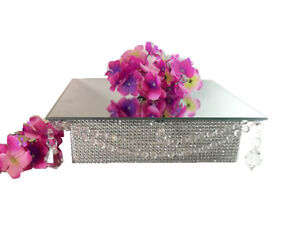 Mirror-Top-10-034-Square-Acrylic-Crystal-Crystal-Cake-Stand-with-Hanging-Pendants