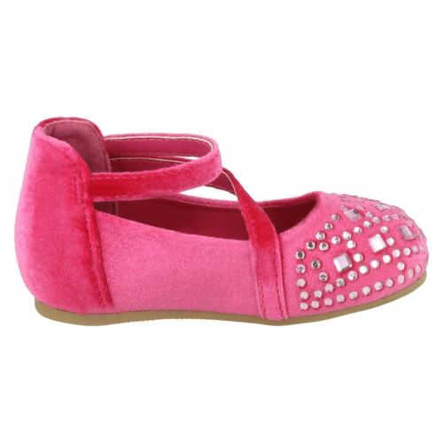 Filles Rose Velours Strass Spot on Fête Princesse Chaussures H2439