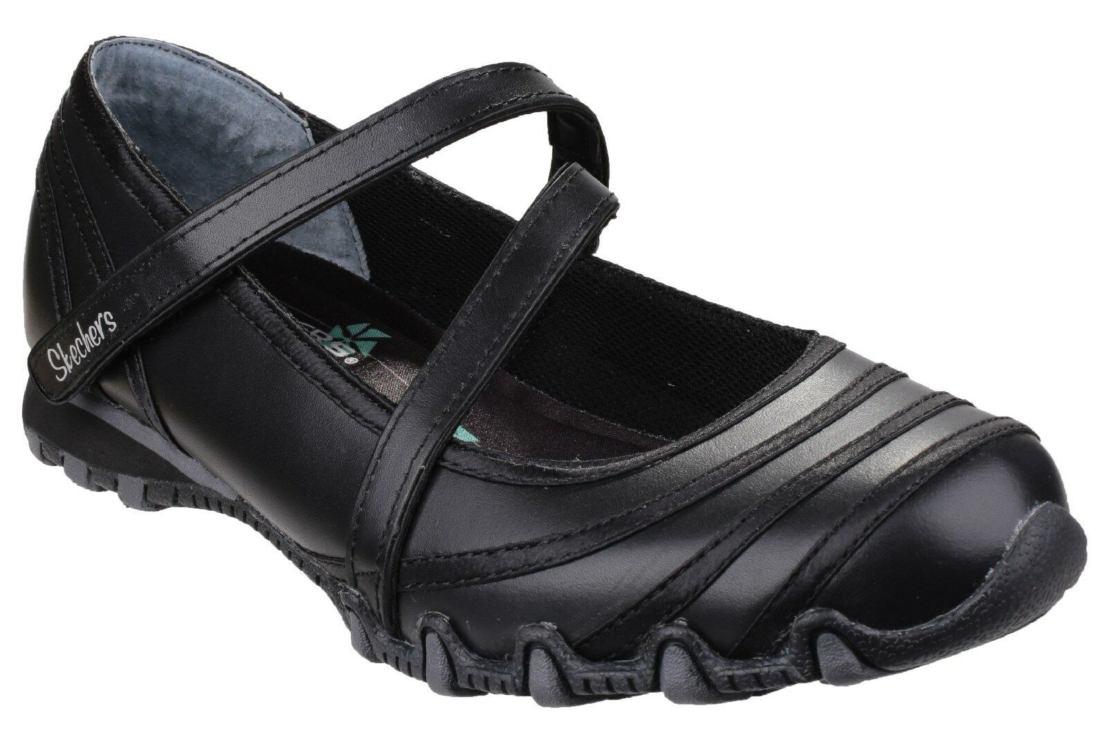 Skechers Bikers Satin Shine Chaussures Mary Jane Femme Chaussures Shine Noires UK3-8 5a25a2