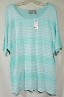 Chico's Size 3 Shirt Top Lace Stripe Timid Blue & White