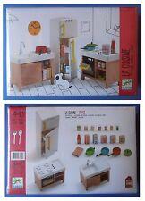 Mobili in legno Djeco cucina frigo gas pentole lavandino casa casetta bambole