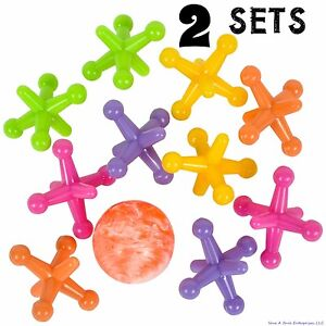 2 SETS - LARGE SIZE NEON JACKS AND RUBBER BOUNCE BALL GAME CLASSIC KIDS TOY