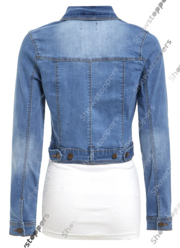 NEW Womens Denim Jacket Jean Stretch Jackets Ladies Blue Size 8 10 12 14 16