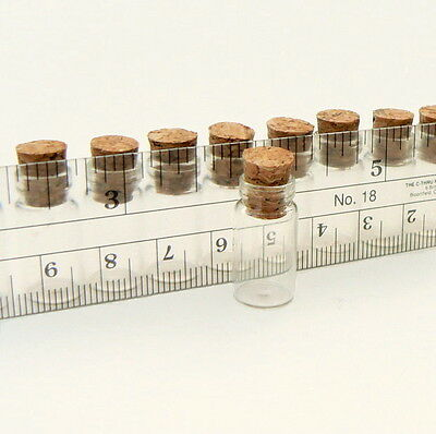 10 Mini Glass Bottles w/ Cork (miniature/bottle/vial/vials/wish/charm/bottle)