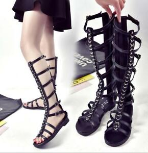 0aabc97823 Details about Women Strappy Gladiator Sandals Knee High Shoes Open Toe  Buckle Flat Boot Zipper