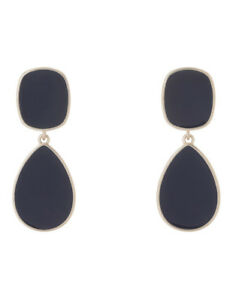 NEW Trent Nathan Enamel Statement Drop Earring Navy