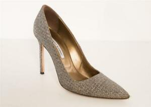 5e97fef5211 MANOLO BLAHNIK BB 105 Bronze Silver Woven METALLIC Pointed-Toe Pumps ...