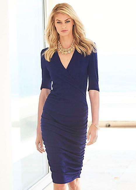 KALEIDOSCOPE LADIES NAVY blueE TEXTURED FABRIC RUCHED DRESS SIZE BRAND NEW