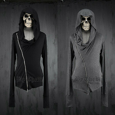 ByTheR Men's Fashion Slim Solid Diagonal Zipper One Size Hoodie P0000XHD UK