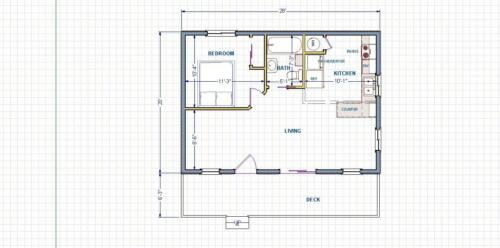 TINY HOUSE PLAN CONSTRUCTION PRINTS 560 SQ.FT.