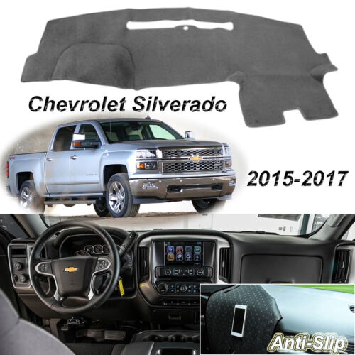 Gray Non-Slip Dash Cover Mat for CHEVROLET SILVERADO 2015-2017 Dashboard Carpet
