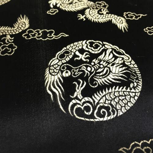 "Traditional Oriental Gold Dragon Silk Satin Brocade 45/"" Wide M60 Mtex"