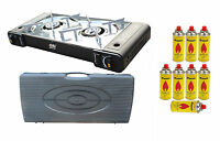 Portable Gas Stove 2 Burner Butane Camping Cooker Carry Case Outdoor Ps-268