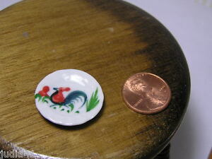 Miniature-Dollhouse-Rooster-Cockerel-Scalloped-Ceramic-Plate