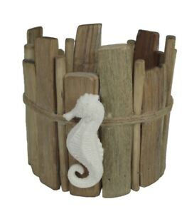 Sonoma-Goods-For-Life-Faux-Driftwood-Seahorse-Large-Candle-Jar-Holder-New