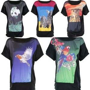 New-Women-Ladies-Summer-Short-Sleeve-Animal-Print-T-Shirt-Top-Shirt