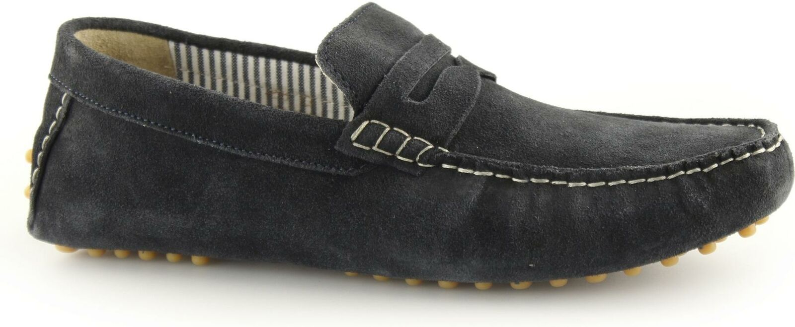 Ikon JENSON herren Suede Leather Slip On Moccasin Casual Driving Loafers Navy Blau