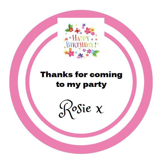 Personalised 40th Balloon Thank you Birthday Party Stickers Sweet Cone Cake 710