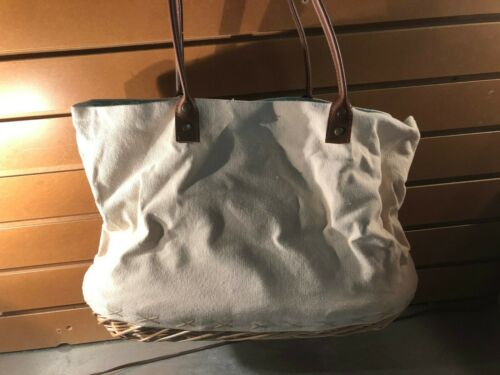 Grass Hopper Design Details about  /Lined Canvas Tote Bag w//Basket Bottom New With Tags