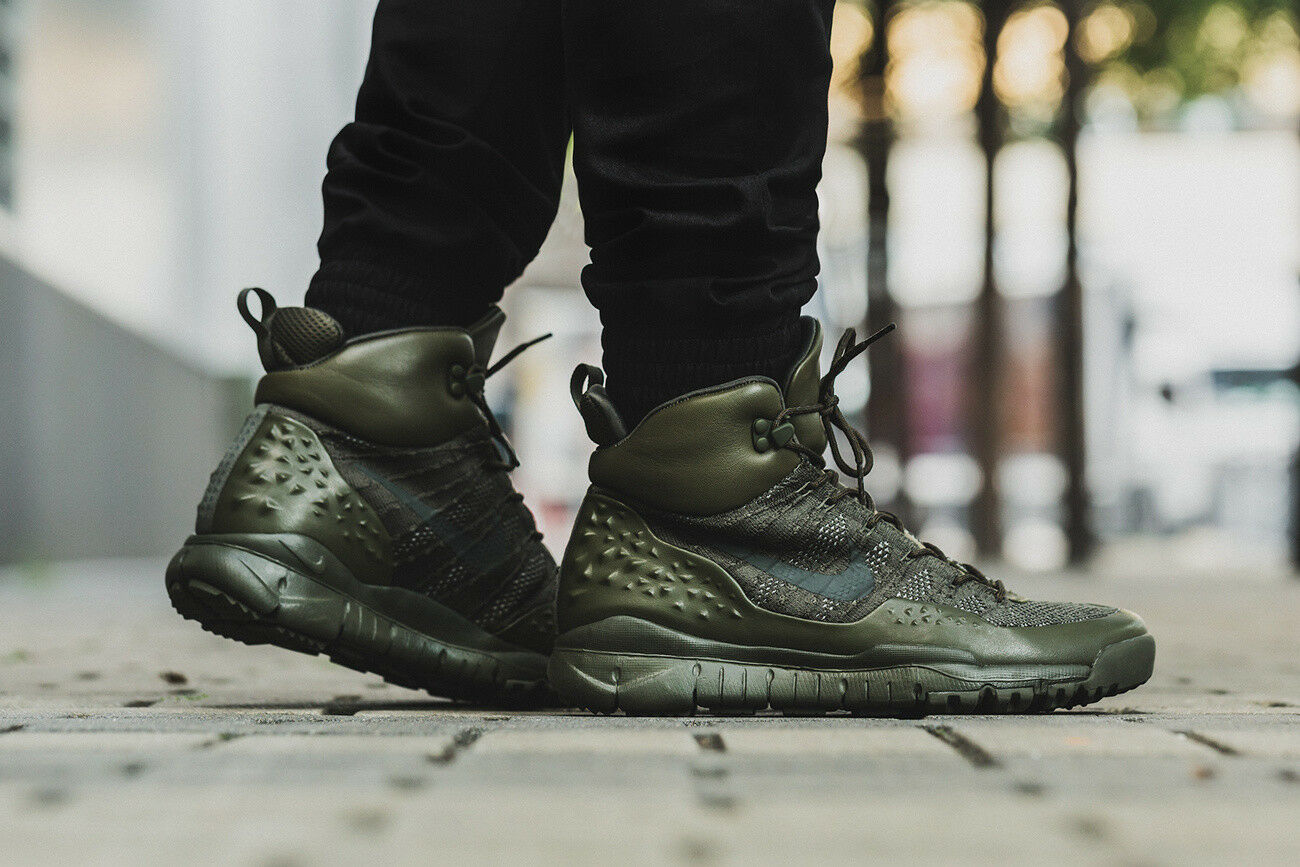 NIKE LUPINEK FLYKNIT Trainers Boots Fashion - Cargo Khaki Sequoia -Various Sizes