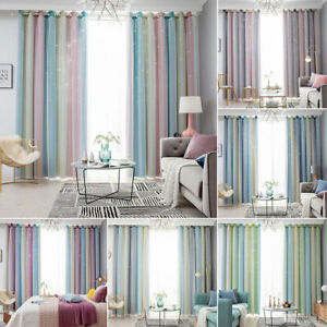 Blackout Curtains Thermal Ready Made Eyelet Ring Starry Stars Curtain Tulle Uk Ebay