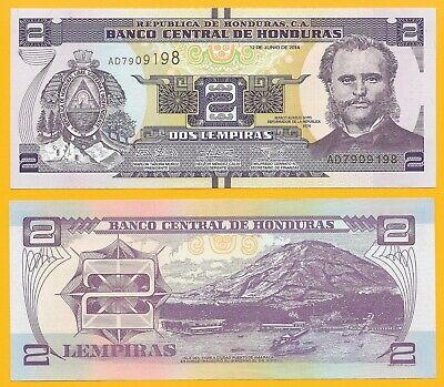 HONDURAS 2  LEMPIRAS 2014 UNC P-97 PREFIX AD