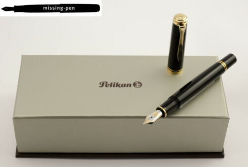 Green-Black or Blue-Black 18 K IB Italic nib Pelikan Fountain Pen M800 Black