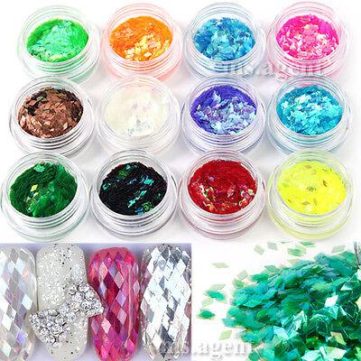 12 Colors Nail Art Sparkle Rhombus Glitter Decoration Tips Powder Acrylic UV Gel