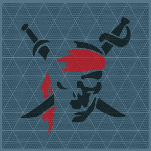 Pirate Flag Crossbones Jolly Roger SKul 11x11 8x8 6x6 4x4 Reusable Template