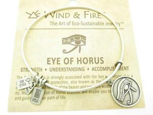 Wind-and-Fire-Eye-of-Horus-Silver-Charm-Wire-Bangle-Stackable-Bracelet-New-Gift