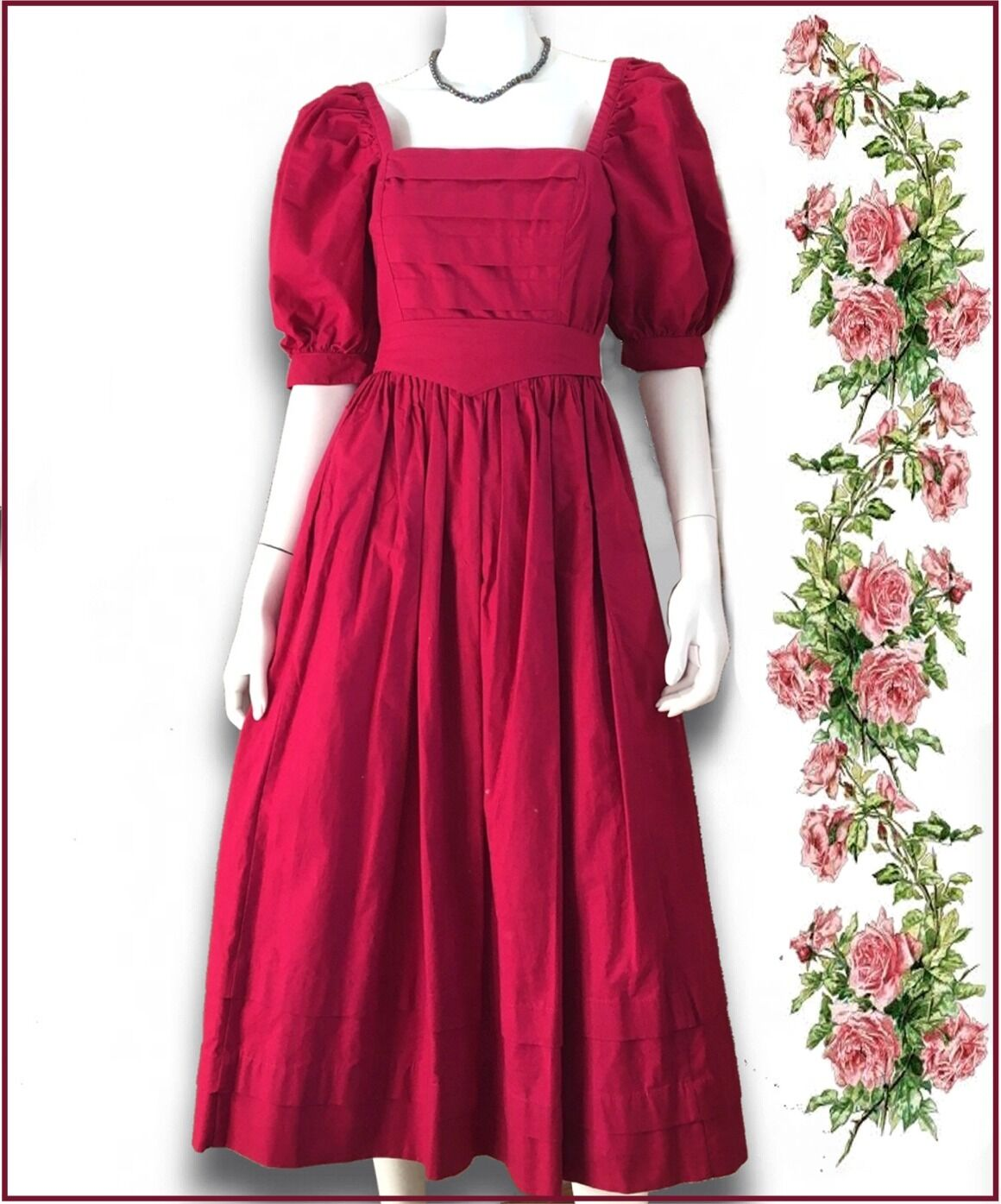 VTG Laura Ashley red 100% cotton puff sleeves belt dress US 10 Eur 38 GB