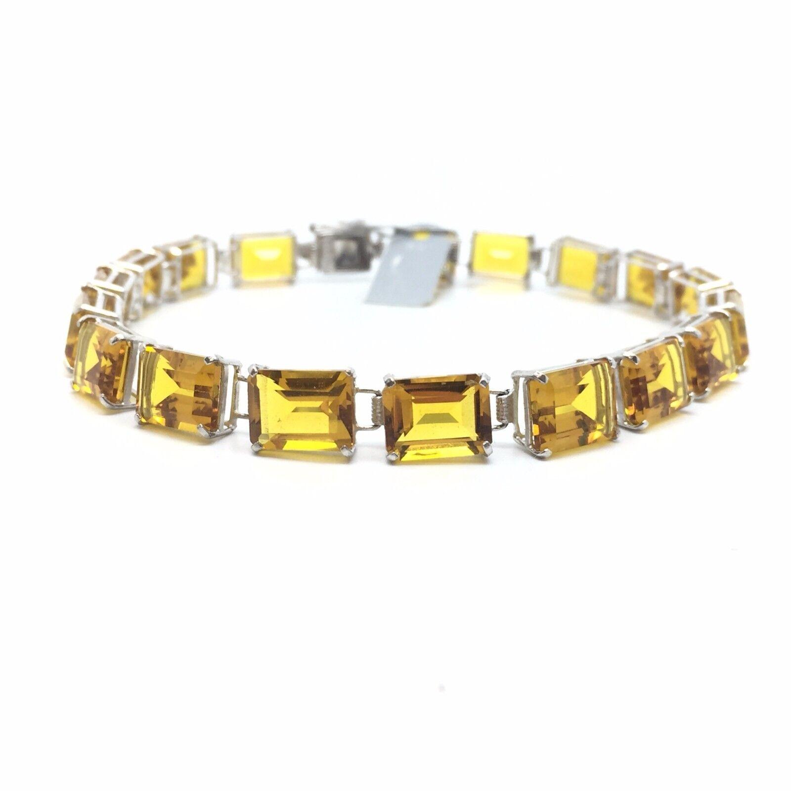 14k White gold Citrine Bracelet; 25 Ct.; Originally  750