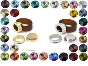 Silikon-Ring-Band-Braun-verschiedene-Swarovski-Elements-Steine-Gr-50-70