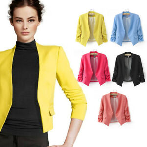 S-M-L-Candy-Color-Womens-Fashion-Korea-Solid-Slim-Casual-Suit-Blazer-Coat-Jacket