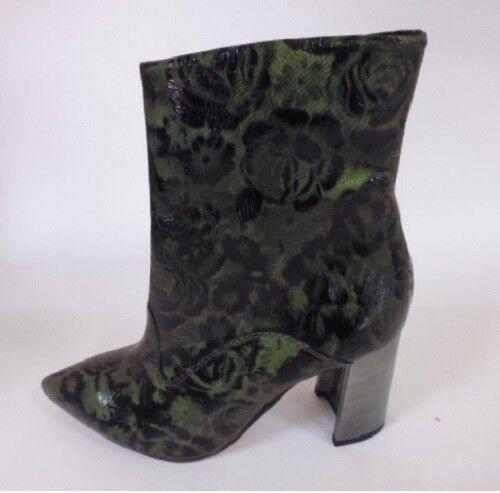 IiM Schuhes Gr. 38 / 5 STIEFELETTEN STIEFEL SCHUHE LEDER schwarz grün