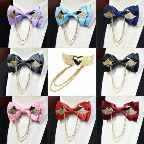 Manoble Men/'s Adjustable Metal Golden Wings Two Layer Neck Bowtie Bow Tie