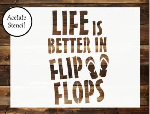Craft pochoir aérographe La vie est mieux en Sandales fabrication carte pochoir