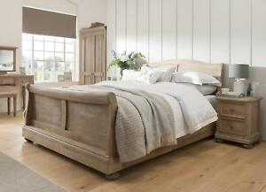 Dayton Solid Oak Bedroom Furniture Double Sleigh Bed | eBay