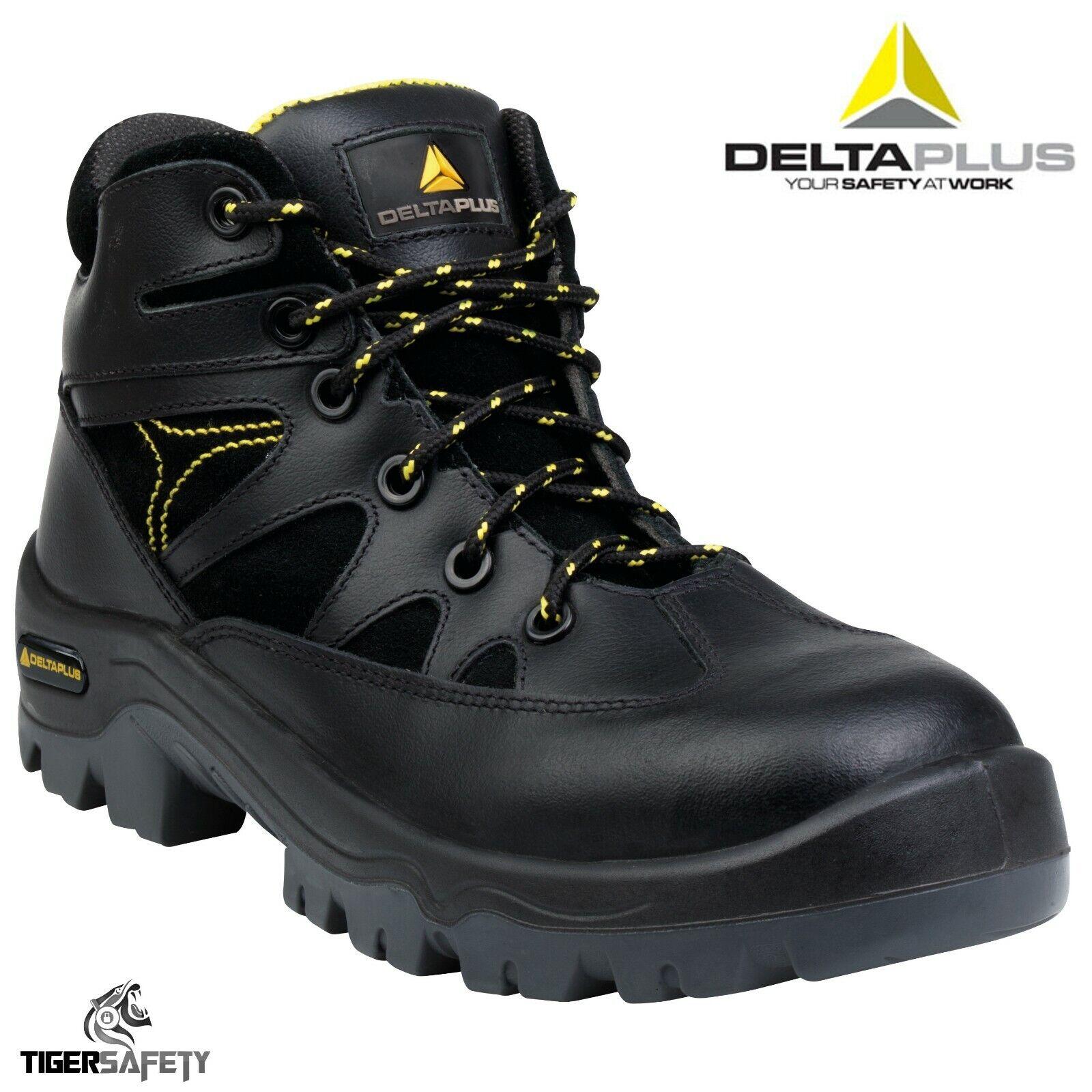Delta Plus Ohio 3 S3 Negro Cuero Puntera Composite botas de seguridad libres de metal PPE