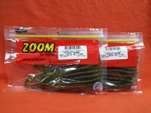 #051-141 Watermelon Gold Glitter ZOOM Speed Worm 2 PCKS 15cnt