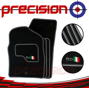Classic-Black-Carpet-Car-Mats-with-500-Logo-amp-Sports-Check-for-Fiat-500-07-12