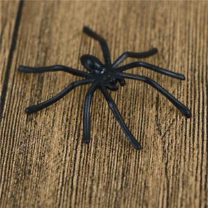30pcs-Halloween-plastique-noir-araignee-plaisanterie-jouets-decoration-realiste
