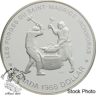 1988 CANADA SAINT MAURICE IRONWORKS BRILLIANT UNCIRCULATED SILVER DOLLAR COIN
