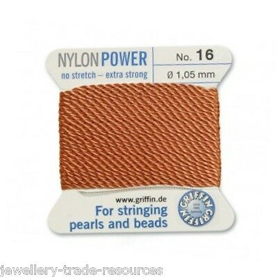 BROWN NYLON POWER SILKY STRING THREAD 1.05mm STRINGING PEARLS /& BEADS GRIFFIN 16