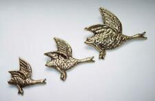 3 x Vintage BRASS FLYING DUCKS Hanging WALL ORNAMENTS