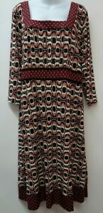 Lane-Bryant-26-28-Beige-Red-Black-Womens-Dress-Tie-Waist-3-4-Sleeve-Stretch-Knit