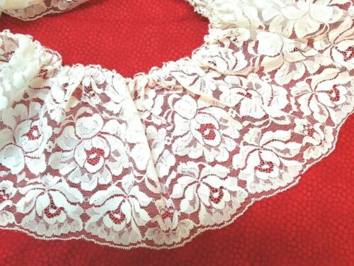 Ruffled White Floral lace 6.5 inches  1 yard